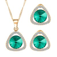 Wholesale cheap necklace for lovers online - Newest Crystal Jewelry Sets For Women Triangular shape Necklace Earrings Sets High Quality Top Sales Cheap Jewelry Set M40