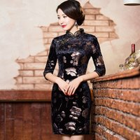 Wholesale Velvet Cheongsam - Shanghai Story Velvet cheongsam vintage Qipao traditional chinese cheongsam qipao dress national chinese dresses women oriental dress