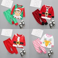 Wholesale elk baby clothes resale online - Christmas Baby Clothes Kids Xmas Elk Pajamas Sets Striped Santa Claus Suits Cotton Tops Pants Outfits Cartoon Long Sleeve Clothing