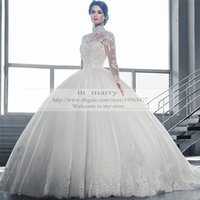 Wholesale Victorian High Collar Wedding Dress - Victorian Arabic Long Sleeves Ball Gown Wedding Dresses Princess Style 2015 Plus Size Muslim Isalmic High Neck Empire Wedding Bridal Gowns