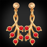 Wholesale red austrian crystal earrings - Romantic Red Stud Drop Earrings 18K Real Gold Plated Austrian Rhinestone Ruby Jewelry Gift For Women MGC E2203