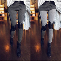 Wholesale Slim Girls Sexy Leggins - New Winter Sexy Slim Stretchy Patchwork Cotton Faux Leather Leggings For Women Skinny Pants Leggins Girl Boot Pants Legging JY58