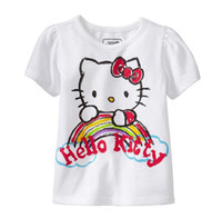 Wholesale Shrit Girls - Fashion Girls Cartoon Kitty Cats Short Sleeve Tee Shirts Children Clothing Summer Pure Cotton T-shrit Tops Kids T-shrits Shirts KB209