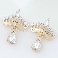 Wholesale Gold Crown Earrings - 2015 Fashion Korean Gold Crystal Stud Earrings Bijoux Women Earrings Crown boucle d'oreille Fashion Jewelry Women Accessories