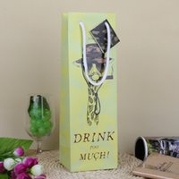 Wholesale Green Greeting Cards - Elegant Giraffe Gift Wine Bag with Greeting Card Festive Christmas Party Decor Green Paper Bag Fashion Gift Wrap SD806