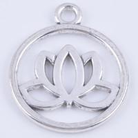 preciosas decoraciones al por mayor-100 unids / lote aleación de metal de plata antigua flor de loto preciosa joyería de moda collet fit collar pulsera llavero bolsa decoración DIY 5354