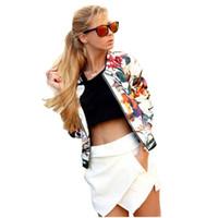 moda para menina slim curto venda por atacado-Atacado- 2017 New Autumn Moda Feminina Meninas manga comprida Magro Padrão de flor Collarless Casual Zipper Jacket Curto