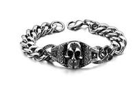 pulseira de aço de titânio magnético de saúde venda por atacado-Hot clássico dos homens de aço titanium pulseira faraó rei do crânio saúde magnética marido presente de natal