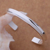 Wholesale Wholesale Sterling Silver Cuffs - Free Shipping with tracking number Best NEW 925 STERLING SILVER BIG SMOOTH WIDE CUFF BANGLE BRACELETS 7MM CHRISTMAS GIFTJEWELRY 1313