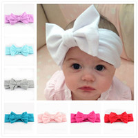 Wholesale Cotton Fabric Baby Headbands - New Children Knitting Bow Tie Bandanas Girl Baby Cotton Headbands Hair Accessories Free Shipping