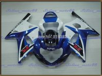 Wholesale Gsxr Motorcycle Fairing Kit - Fairing kit for SUZUKI GSXR 600 750 01 02 03 White blue panels GSXR 600 GSX-R750 K1 2003 2001 2002 motorcycle body PM12
