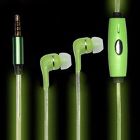 Wholesale Iphone Visible Led - Light Up Earphone Visible EL Flowing LED Lighting In ear Earphone Headphone For phone iphone Samsung 6 6S S6