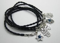 Wholesale Hand Braided Leather Bracelets - Hot ! 100Pcs Mixed Kabbalah Hamsa Hand Charms Black Leatheroid Braided String Bracelets 15cm -21cm