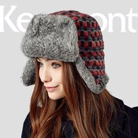 Wholesale Kenmont Trapper Hat - Wholesale-Kenmont Women Lady Girl Winter Warm Outdoor Natural Real Rabbit Fur Russia Trapper Aviator Bomber Hat Ski Cap 2313