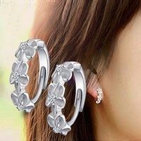 Wholesale Silver Clip Earrings Hoops - Fashion Women's Crystal 925 Sterling Silver Ear Stud Hoop Earrings Jewelry flower ear clip ear stud