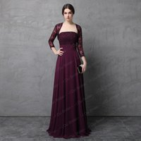 Wholesale Quality Formal Shirts - Two Piece Burgundy Mother of the Bride Dress with Lace Jacket A line Chiffon Skirt High Quality Wedding Guest Formal Dress