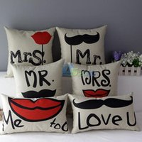 Wholesale Mrs Right - Wholesale-2015 Pop Style Mr Right & Mrs Always Right Cotton Linen Pillow Case Home