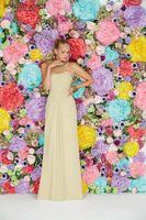 Wholesale Ronald Joyce Strapless - Long Bridesmaids Dresses light Yellow Chiffon Bridesmaid Dresses 2016 Curved Backless Sleeveless Floor-Length Pleats Ronald Joyce 29112