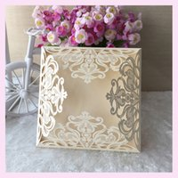 Wholesale Wedding Laser Card - Wholesale- 21 Color 100pcs Red White Gold Elegant Carved Flower Four Folds Laser Cut Wedding Invitations European Party Decorations Cards