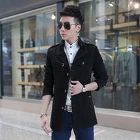 Wholesale Hot Men Trench Coats Slim - hot sale Free shipping Jacket Slim Fit Casual Trench Coat Mens Winter Coats Man UK Style Outwear Overcoat
