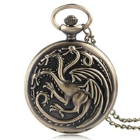 Wholesale Long Bronze Chain - Top Vintage Pocket Watch Men Women Game of Thrones Theme Classic Bronze Quartz Watches Pendant Long Chain Necklace Child Gift Wholesales