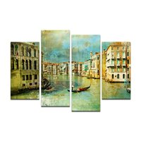 Wholesale Water Painting Photos - Home Decor Vintage Style Venice Water City Landscape Painting Canvas Art Print On Canvas Cityscape Photo Print Canvas (Unframed)