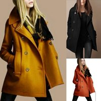 Hot FashionNew Mode für Frauen Schlank Wolle Trench warme Mäntel Zweireiher Jacken Outwear A C075