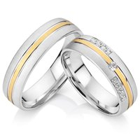Wholesale-2015 custom western titanium his and her's wedding band engagement couples promettent ensembles de bagues pour hommes et femmes anillos de boda