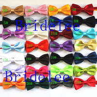 Wholesale Butterfly Silk Tie - 50pcs Lot Mixed Color Brand NEW Mens Imitation Silk Tuxedo Adjustable Fashion Neck Bowtie Bow Ties Men Wedding Party Necktie Butterfly