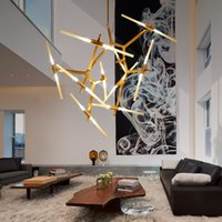 Barato Pingente Luz Árvore Negra-Modern Tree Brands Chandelier Lindsey Adelman Design Art Lights Roll Hill G9 LED Gold / Black Lustres ajustáveis ​​DIY Pendant Lights