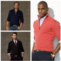 Wholesale Cardigan Sweater Brown - Wholesale-new arrival cardigan v neck polo sweater men cotton casual coat fashion brand knitted sweater half zipper jumper
