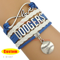 Wholesale Blue Infinity Bracelets - Wholesale-(10 Pieces Lot) Infinity Love MLB Los Angeles Dodgers Baseball Bracelet Dodger Blue White Custom Any Styles - Drop Shipping