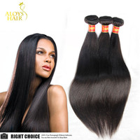 Wholesale Chinese Remy Hair Extensions - Brazilian Straight Hair Peruvian Indian Malaysian Cambodian Virgin Hair Weave Bundles Cheap Remy Human Hair Extensions Natural Color Dyeable