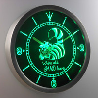 Wholesale Neon Led Clock - nc0234 The Cheshire Cat Alice in Wonderland LUMINOVA Neon Sign Bar Beer Decor LED Wall Clock Free Shipping Dropshipping Wholesale