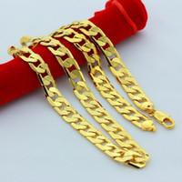 14 ayar sarı altın doldurma zinciri toptan satış-Yeni Büyük 10 MM Genişlik Sarı Katı Altın Dolu Küba Zincir Kolye kalın Erkek Takı Womens Serin baba erkek arkadaşı doğum günü hediyesi