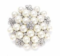 ingrosso brooch di cristallo della perla faux-Vintage tono argento strass Crystal Diamante e Faux Cream Pearl Cluster Grande bouquet da sposa Pin Pin Spilla Wedding Invitation Pins Jewelry