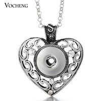 Wholesale Brass Heart Charm - VOCHENG NOOSA 18mm Heart Pendants Necklace Interchangeable Jewelry Snap Charms Pendant Jewelry with Stainless Steel Chain NN-060