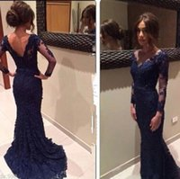 2016 New Navy Abendkleider Sheer Jewel Neck Lace Illusion Lange Ärmel Meerjungfrau Prom Kleider Sweep Zug Open Low Back Formal Gowns