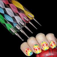 Wholesale Doting Tools - Wholesale-5Pcs 2way Nail Dotting Pen Marbleizing Tool Nail Art Doting Paint Nail Art Tools
