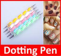 Wholesale steel nail art dotting tools for sale - Group buy 5 Nail Art Tool Steel Dotting Marbleizing Pen Nail Art Paint Pen Decoration Nail Art Manicure Tool