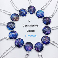 Wholesale wholesale zodiac necklaces - Zodiac Luminous Pendant Necklaces 12 Constellation Sign Glass Cabochon Blue Light in the Dark Charm Gift Necklace Jewelry Wholesale