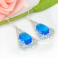 Wholesale Blue Topaz Earrings Oval - Wholesale 3 Pairs   Lot Newest Oval Blue Topaz Gemstone 925 Sterling Silver Plated Drop Earrings ce0476