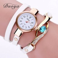 Wholesale long leather watch straps women - Duoya Women Bracelet Leather Strap Crystal Watch Long Chain Wristwatches Jewelry Luxury Ladies Gift Summer Watch XR1856