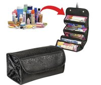 Wholesale Wall Compartments - Custom Logo Drop Shipping Cosmetic Bag Hot Makeup storage Lady Magic Toiletries Pockets Compartment Travel Large Capacity party gift