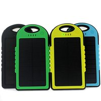 Wholesale Wholesale Solar Mobile Charger - solar power bank portable waterproof Panel Shockproof mobile solar phone charger with dual usb ports Flashlight for CellPhone Laptop OTH013