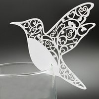 Wholesale Chinese Bird Decorations - 200pcs lot Wine Glass Card Cute Birds Design Paper Escort Laser Cut Place Card Table Name Holder Wedding Party Favors wd104