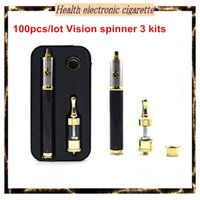 Gros-50pcs / lot Vision Spinner Cigarette 3 Starter Kit électronique 1600mAH Carbon Fiber Vape Pen E Cigar Starter Kit tension variable