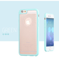 Wholesale Gasses For Pc - New arrival candy double color PC+TPU iphone 6 clear back case cover protective shell with gas hole