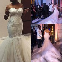 Wholesale Maria Dress - 2018 African Nigerian Ivory Mermaid Lace Wedding Dresses Straps Sweetheart Lace Appliques with Tulle Chapel Train Bridal Gowns robe de maria