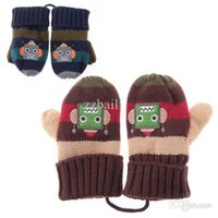 Wholesale Toddler Finger Gloves - Wholesale-Baby Kids Children Toddler Mittens Gloves Knitted Winter Warm Boy Coffee Blue Cute Gift Free Shipping